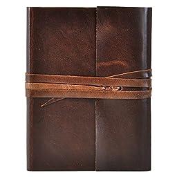 Islander Mocha Brown Leather Journal with Wrap 5x7