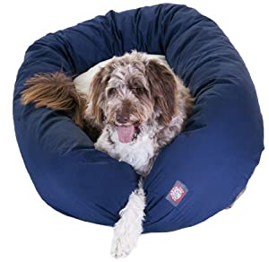 Majestic Pet 52-Inch Sherpa Bagel Bed for Pets, Blue