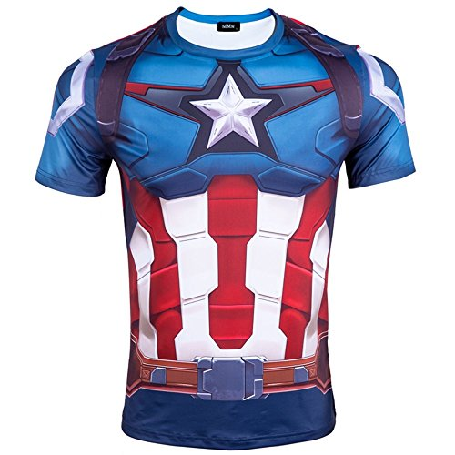 Madhero -  T-shirt - Collo a U  - Uomo Multicolore Blue Captain America Shield