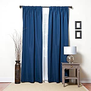 Navy Silk Dupioni Pinch Pleat Style Thermal Insulated Blackout Curtains 48 W X 84 L