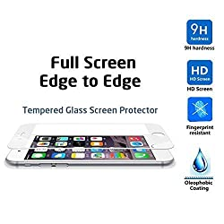 IVSO iPhone 6S Screen Protector , HD Clear Full Screen Anti-scratch Tempered Glass Protectors with Curved Edge, Cover Edge-to-Edge- For iPhone 6S / iPhone 6 Phone (White)