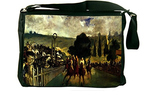 Rikki Knight LLC discount duty free Rikki KnightTM Claude Monet Art Race at Longchamp Design Messenger Bag - Shoulder Bag - School Bag for School or Work
