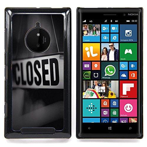 Closed Sign Store Message Black White Custodia protettiva Progettato rigido in plastica King Case For Nokia Lumia 830