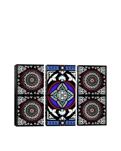 White Winter Stained Glass Triptych Giclée On Canvas