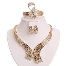 buy Moochi 18K Gold Plated Crystal Golden Necklace Earrings Ring Bracelet Jewelry Set Costume Wedding