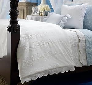 Lauren Ralph Lauren Spring Hill Bedding FULL/QUEEN White Seersucker & Eyelet Comforter