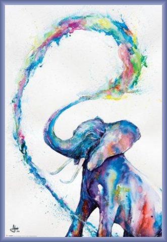 Elefanti Poster Stampa e Cornice (Plastica) - Elephant, Marc Allante (91 x 61cm)
