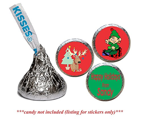 Holiday Stickers for the bottom of chocolate Kisses, Personalized (set of 108)(RElf) (Elf Set And Seal compare prices)