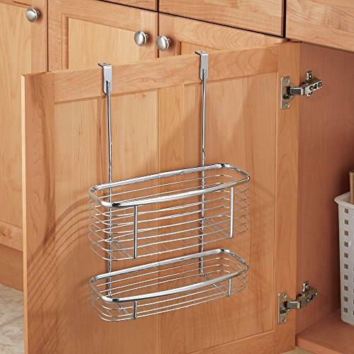Kitchen Storage Organiser Basket Tidy, Chrome, Cupboard Door Basket Rack Home