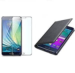 RIdhaniyaa (COMBO OFFER) for [SAMSUNG GALAXY ON 8] BLACK Leather Flip cover + Premium Tempered Glass screen Protector -