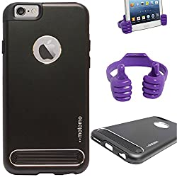 DMG Motomo Ultra Tough Metal Shell Case with Side TPU Protection for Apple iPhone 6 Plus (Black) + Mobile Holder Hand Stand