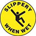 "Accuform Signs MFS723 Slip-Gard Adhesive Vinyl Round Floor Sign, Legend ""SLIPPERY WHEN WET"" with Graphic, 17"" Diameter, Black on Yellow"