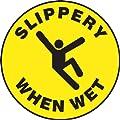 "Accuform Signs MFS723 Slip-Gard Adhesive Vinyl Round Floor Sign, Legend ""SLIPPERY WHEN WET"" with Graphic, 17"" Diameter, Black on Yellow"