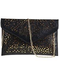 Womens Envelope Clutch Chain Foil Floral Purse Lady Handbag Shoulder Evening Bag