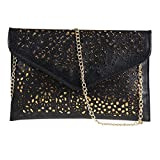 Womens Envelope Clutch Chain Foil Floral Purse Lady Handbag Shoulder Evening Bag (Black)