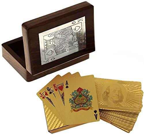 A mano insieme di legno della cassa della scatola carta da gioco titolare - mazzo di dollaro in oro placcato a giocare a carte -11.4 x 8.9 x 3.8 cm