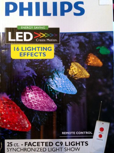 25Ct Multi Led Faceted C9 String Lights W/ Remote-Philips