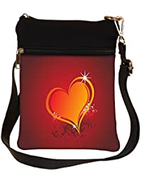 Snoogg Beautiful Shining Heart With Floral And Grunge Elements Cross Body Tote Bag / Shoulder Sling Carry Bag
