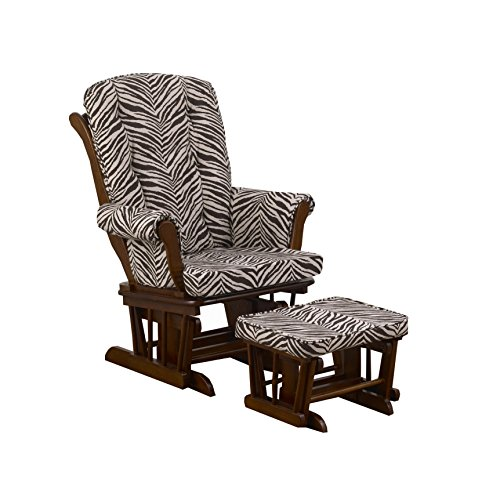 Cotton Tale Designs Sumba Glider Print on Espresso with Ottoman, Small Zebra