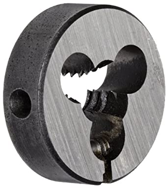 "Union Butterfield 2010(UNC) Carbon Steel Round Threading Die, Uncoated (Bright) Finish, 13/16"" OD, 1/4""-20 Thread Size"