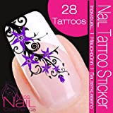 Nail Tattoo Sticker Blossom / Ornament - purple