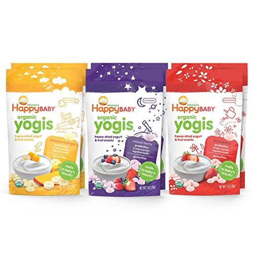 Happy Baby Organic Yogis Freeze Dried Yogurt and Fruit Snack 6 Piece Variety Pack (Fruit And Yogurt Snacks compare prices)