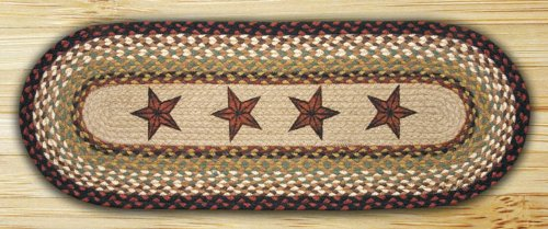 OP-19 Barn Stars Oval Quilt Patch Braided Rug - 2'x6'