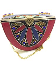 Nakkashee Rajasthan Latest Handcrafted New Designer Stone Semicircle Sling Bags