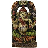 Divya Mantra Wall Decor Hand Carved Single Piece Wooden Vighnaharta Ganesha