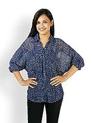 VAAK Women's Full Sleeve Shirt with Cuff 100% Viscose Blue (L)