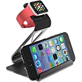 Apple Watch Stand - Poetic Smartphone [Apple/Android] / Apple Watch Dual Stand [Loft] - [Aluminum] [Versatile][Elegant] Aluminum Made Stand with TPU Dock [Charging Cable & Watch Case & Watch NOT INCLUDED] for Smartphone[Apple/Android] / Apple Watch Space Grey (3-Year Manufacturer Warranty From Poetic)