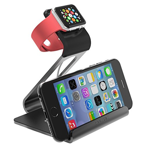 Apple Watch Stand – Poetic iPhone iwatch Dual Stand charging station holder cradle dock * Updated Version *[Loft] – Aluminum Stand with TPU Dock [Charging Cable & Watch Case & Watch NOT INCLUDED] for Apple Watch Space Grey (3-Year Manufacturer Warranty From Poetic)