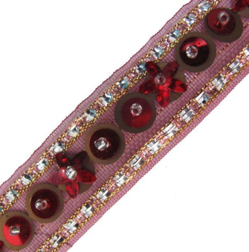 4.5 Yard Maroon Copper Gold Beaded Sequin Trim Ribbon