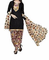 Fashion Dream Womens Cotton Dress material ( Rutwa black_Black_Freesize )