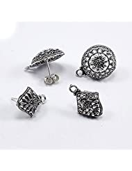 Silvesto India 4 Pcs Silver Plated Round & Kite Shape Stud Earrings With 4 Push US 19951 Accessories Jewelry