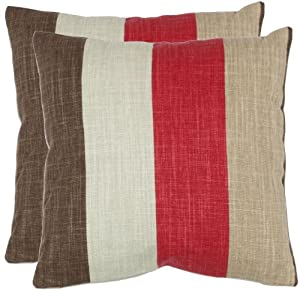 Amazon.com: Safavieh Pillow Collection 18-Inch Stripes Pillow, Red ...