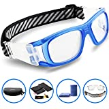 Ponosoon Sports Goggles Glasses for Basketball Football Volleyball Hockey 1809(Transparent Blue)