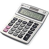 Avalon 12 Digit Dual Powered Desktop Calculator, Tilted LCD Display, Silver