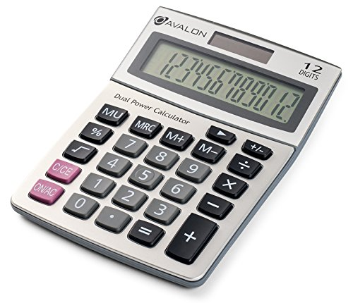 Avalon 12 Digit Dual Powered Desktop Calculator, Tilted LCD Display, Silver