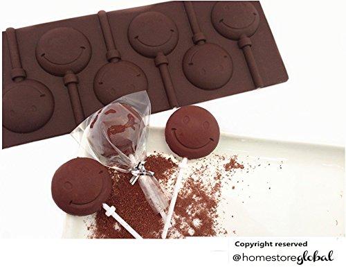 HomeStore Global, cadeau de vacances, Moules à sucettes en chocolat - Smiley - Silicone (Kit de 24 pièces)