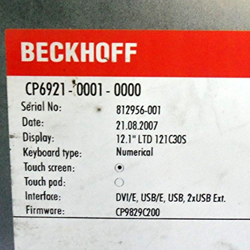 """BECKHOFF 24V 12.1"""" LTD TOUCH SCREEN CONTROL PANEL, CP6921-0001-0000, NNB"""