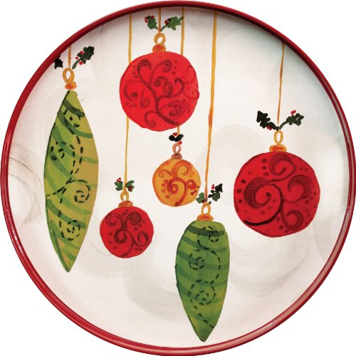 Rockflowerpaper Festive Ornaments Round Lacquer Serving Tray, 18-Inches In Diameter