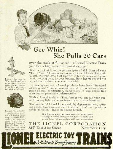 1922 Ad Lionel Electric Toy Trains Model Railroad Set Raymond Thayer Art Child - Original Print Ad
