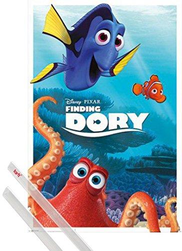 Poster + Sospensione : Alla Ricerca Di Dory Poster Stampa (91x61 cm) Dory, Hank E Nemo e Coppia di barre porta poster trasparente 1art1®