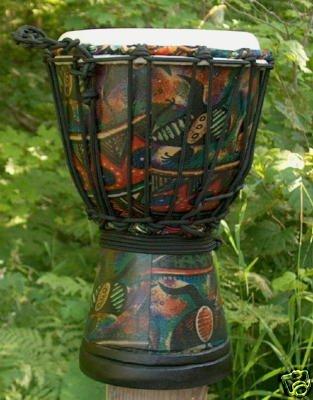 "Tribal Motif Sarong Design Djembe Drum- 11""-12"" Tall x 7""-8"" Head"