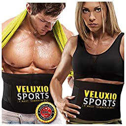 Waist Trimmer Ab Belt (Elite Edition) - Adjustable Weight Loss Sauna Belt For Men & Women With Lower Back & Lumbar Supports For Easy, Effortless Waist Slimming - Lifetime Guarantee