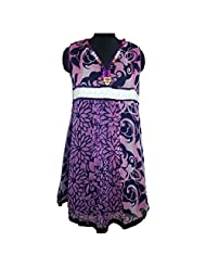 REEDNPICK BELTED LACE WITH NECKLACE ON NECK, PLEATING (WITH SLEEVE FAB) FRONT LADIES KURTI MULTI