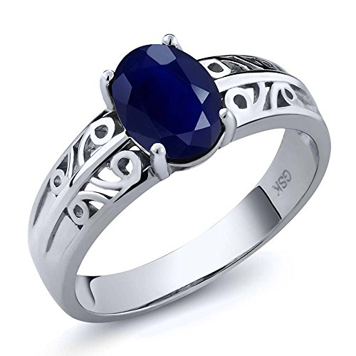 1.79 Ct Oval Natural Blue Sapphire Gemstone Birthstone 925 Sterling Silver Women's Ring