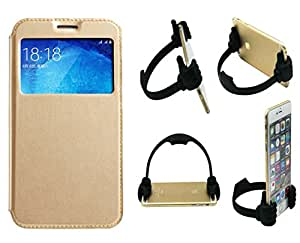Novo Style Samsung GalaxyOn7 Window View Premium Flip Cover Case W Stand View+ Ok Stand For Smartphones And Tablets
