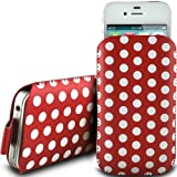 RED POLKA DOT PREMIUM PU LEATHER PULL FLIP TAB CASE COVER POUCH FOR MOTOROLA GLEAM PLUS + BY N4U ACCESSORIES